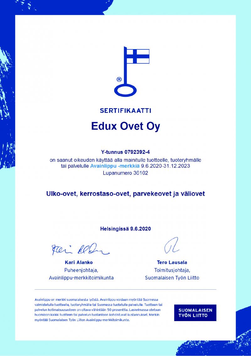 Avainlippu merkintä Edux-ovet Oy:lle